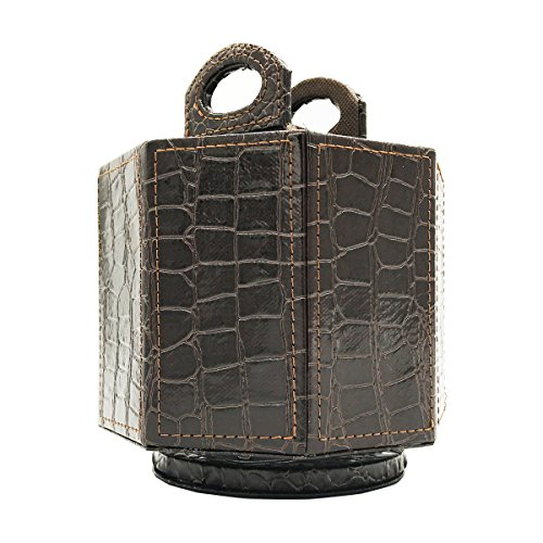 UnionBasic PU Leather Crocodile Pattern 360 Degrees Rotatable Remote Control Organizer, Spinning Mail/Media Desktop Organizer Caddy Holder (Brown)