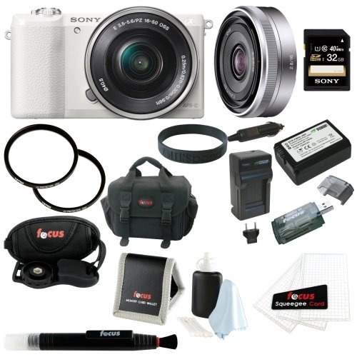 Sony Alpha (ILCE-5100L/W ILCE-5100LW ILCE-5100) 24MP 16-50mm Interchangeable Lens Camera with 3-Inch LCD (White) + Sony SEL16F28 E 16mm F2.8 E-mount Prime Lens + Sony 32GB SD Card + Wasabi Power NP-FW50 Battery and Charger + Two Tiffen UVP Filters + Deluxe Accessory Bundle