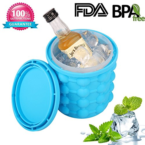 The New Mini Genie Ice Cube Maker – Revolutionary Personal, Space Saving, Duel-use, Ice Molds Bucket For Chilling Cans, Cups And Small Bottles Of Drinks And Beverages. Bpa-free Silicone, 3.8