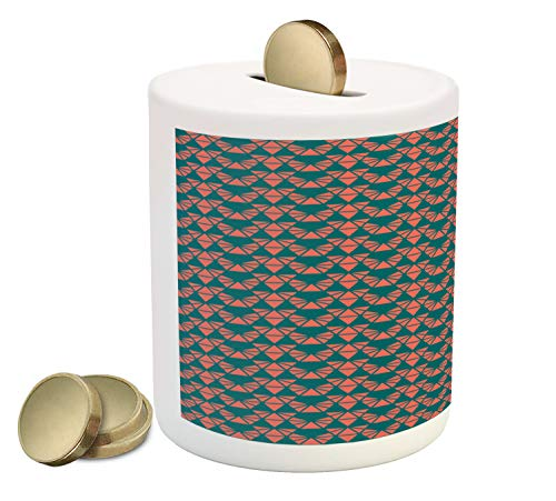 Ambesonne Abstract Piggy Bank, Simplistic Triangular Shapes Artful Geometric Modern Style Ornaments, Printed Ceramic Coin Bank Money Box for Cash Saving, Dark Teal and Salmon