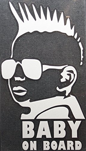 BABY ON BOARD DECAL WITH COOL BABY WITH SUNGLASSES AND SPIKED HAIR REFLECTIVE CAR / TRUCK / DECAL STICKER WITH ALCOHOL PAD ~ Size 3.25