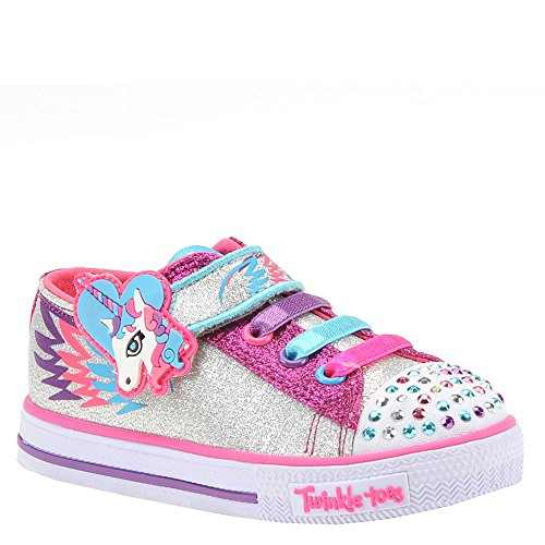 Skechers Kids Girls' Shuffles-Party Pets Sneaker, Silver/Hot Pink, 10 Medium US Toddler