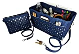 BELIANTO Felt Purse Tote Organizer - Clutch, Perfectly Organizes Desktop, Crafts, Knitting Supply (Floral Motif) (Large, Navy Blue)