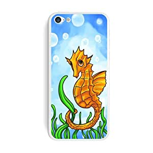 Graphics and More Seahorse Sea Horse Yellow - Ocean Water Cute Protective Skin Sticker Case for Apple iPhone 5C - Set of 2 - Non-Retail Packaging - Opaque