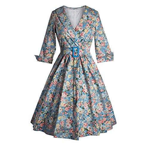 JOTHIN Damen 50s Retro Blumen Rockabilly Kleid Langarm Abendkleid ...