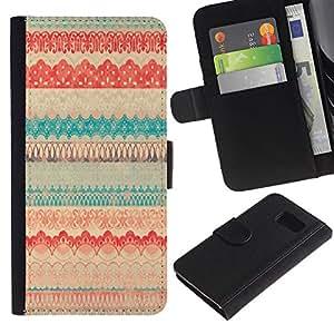 iKiki Tech / Cartera Funda Carcasa - Vintage Vignette Cloth Textile Pattern Quilt - Samsung Galaxy S6 SM-G920