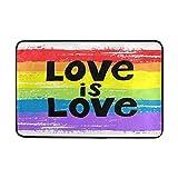 WXLIFE Peace Love is Love LGBT Pride Rainbow Doormat Indoor Outdoor Mat Non Slip Polyester for Door Kitchen Bedroom Garden,15.7''x23.6''