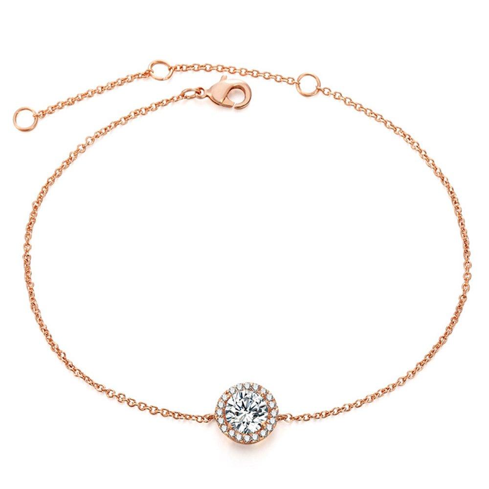 "ASHMITA Fashion Rose Gold Adjustable Bracelet Women Girl Zircon Minimalist Jewelry 6.5""+1"""