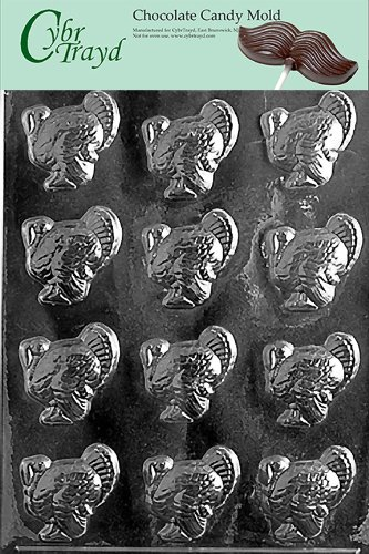 Cybrtrayd T003 Small Turkeys Life of the Party Chocolate Candy Mold with Exclusive Cybrtrayd Copyrighted Chocolate Molding (Turkey Chocolate Mold)