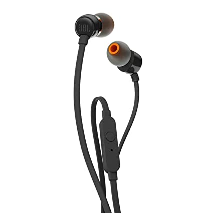 JBL T110 In Ear Headphones with Pure Bass, Mic  amp; Tangle Free Flat Cable nbsp;  Black