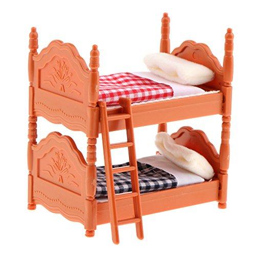 MagiDeal 1/12 Juego de Cama Litera Muebles de Dormitorio en Miniaturas Decoración de Casa de Muñecas