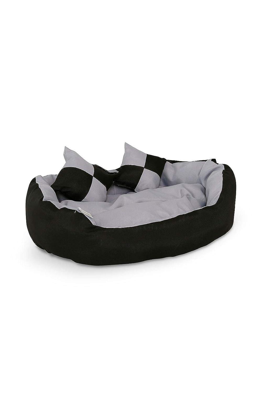 dibea Lit/Coussin/Canapé Lavable avec Coussin Réversible pour Chien Gris/Noir 65 x 50 x 20 cm DB00310
