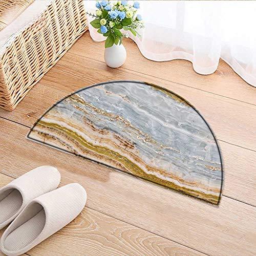 Kitchen Rugs Floor mats Onyx Texture Waterproof Semi-Circular Door Mat Floor Mats W43 x H30 INCH ()