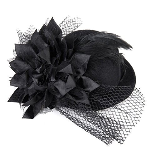 Kalevel Mini Top Hats Headband Hair Clip Vintage Black For Women Girls (Black)]()