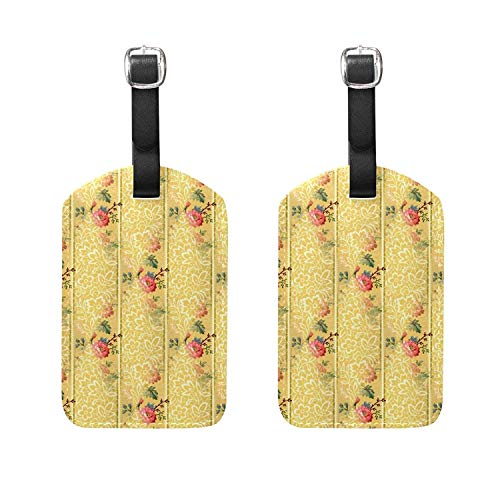 Set of 2 Luggage Tags Rose Floral Flowers Suitcase Labels Travel Accessories