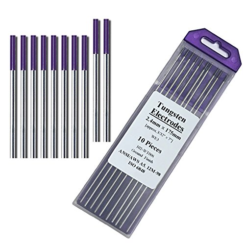 """TIG Welding Tungsten Electrodes Rare Earth Blend 3/32"""" x 7"""" 10-Pack Purple"""