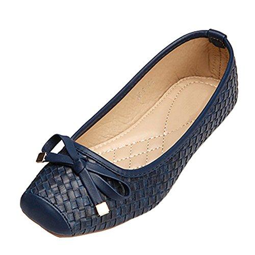 fereshte Women's Comfort Faux Leather Square Toe Flat Pumps Ballet Shoes NO.267 Deep Blue