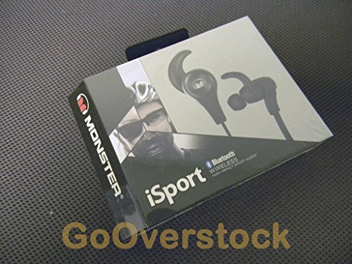 Monster iSport Bluetooth Wireless In-Ear Sport Headphones-Black, Running, Sweatproof, Gym Friendly