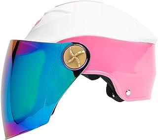 Xing Hua home Casques Casque de Protection Solaire extérieur de Moto/Casque Masculin et Féminin Demi-Couvert/Casque Léger de Protection UV de Casque (Color : Pink)