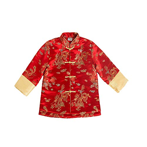- Children Quilted Coat Dragon Phoenix Boy Jacket Outfits Chinese New Year Costume (S(4))