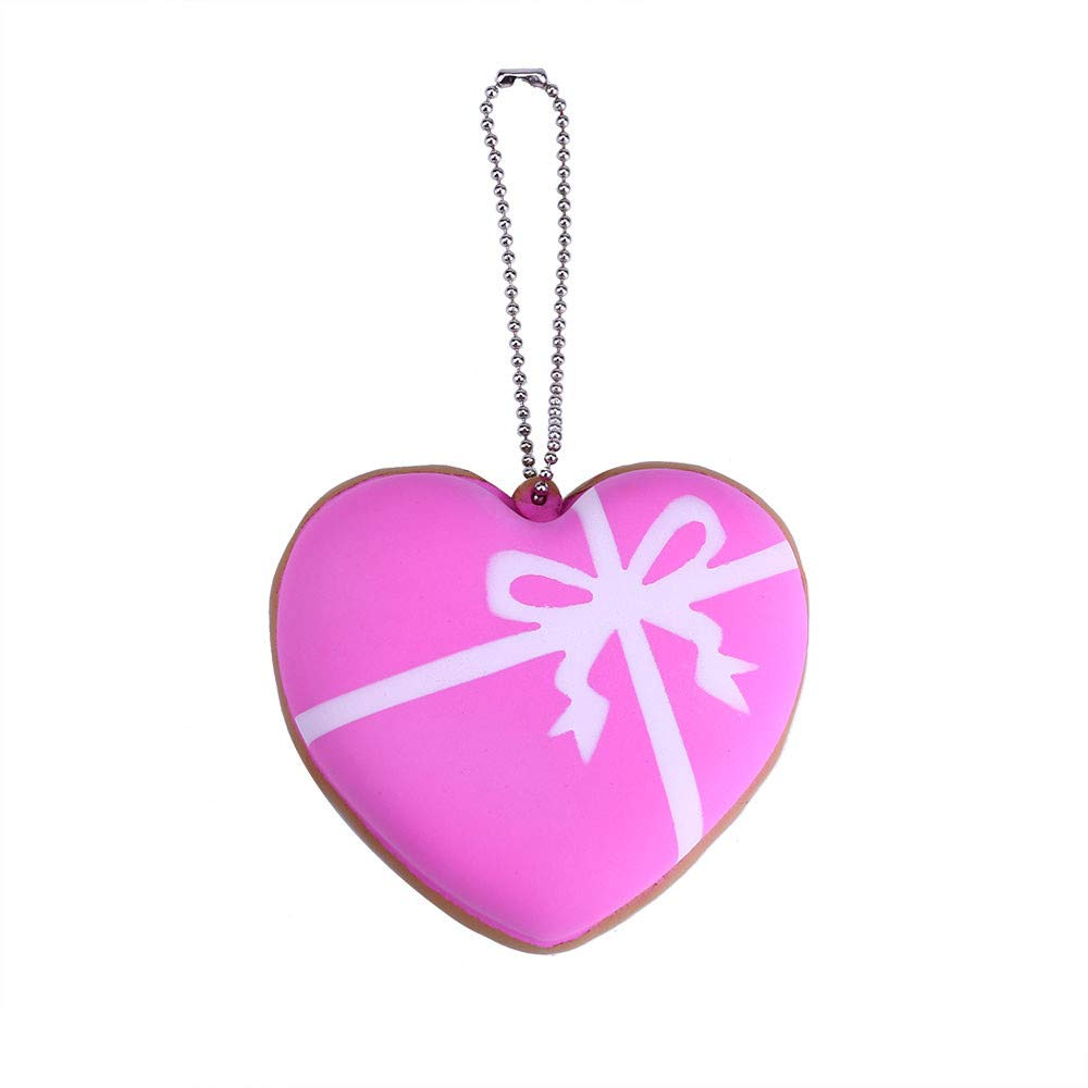 Cyhulu Scented Slow Rising Squishies Toy, Kawaii Mini Cake Heart Key Pendant for Good Decor and Stress Relief (Pink, One size)