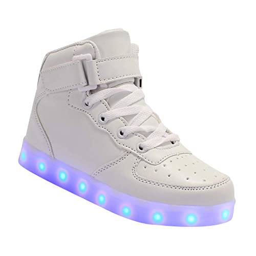 Daytwork Zapatos Deortivos Flashing Zapatillas - Niño Niña LED Flash Light Up USB Cargando Luminoso Cuero High Top Niños Al Aire Libre Running: Amazon.es: ...
