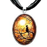 Black Cat Pendant Halloween Necklace Full Moon Moss Tree Branches Zen Handmade Jewelry Art