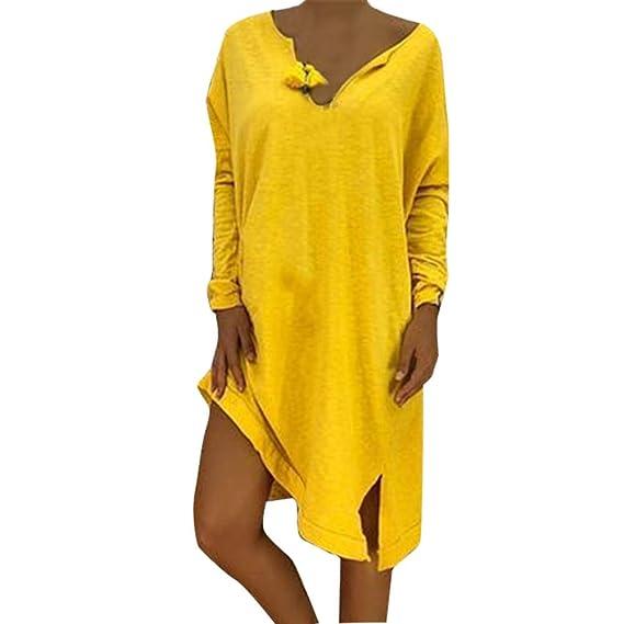 Bestow Camiseta de Manga Larga Vestido de Abrigo Chaleco Suéter Sudadera Mujer Tallas Grandes Cuello Pico Suelta Casual Sólido: Amazon.es: Ropa y accesorios