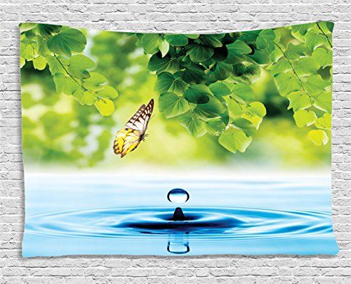 Ambesonne Butterflies Decoration Collection, Flying Butterfly with Exotic Leaves and Water Drop Pure Fresh Nature Artprint Home , Bedroom Living Room Dorm Wall Hanging Tapestry, 60W X 40L Inch, Multi ()