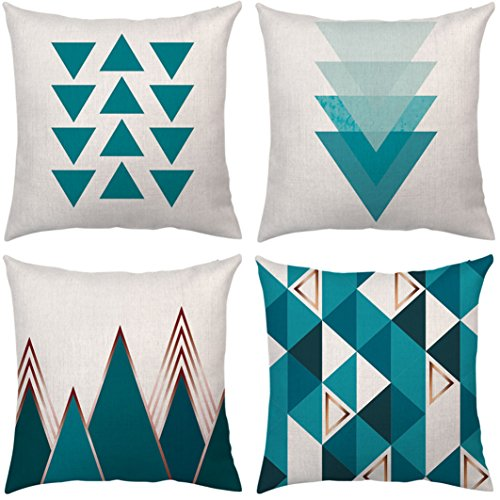 4 Pack Decorative Throw Pillow Covers Case Pillows Modern Simple Geometric Style Blue European Syle Cushion Cover Case 18x18 Soft Linen Home Decor