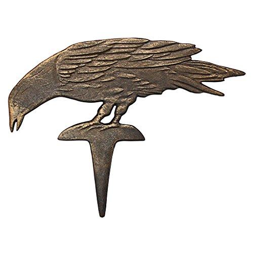 Mystic Raven Cast Iron Garden Stakes: Head Down - Raven Figure - Crow Garden (Bird Head Skeleton)