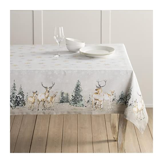 """Maison d' Hermine Deer in The Woods 100% Cotton Tablecloth for Kitchen Dinning Tabletop Decoration Parties Weddings Thanksgiving Christmas (Rectangle, 60 Inch by 108 Inch) - Designed in Europe 100% Cotton & Machine washable. Package Includes : 1 Tablecloth Our collections are featured in Elle Decor and House Beautiful for """"Best Thanksgiving Tablecloth"""". - tablecloths, kitchen-dining-room-table-linens, kitchen-dining-room - 51 n5wrboAL. SS570  -"""