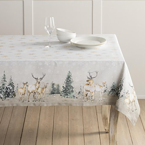 Maison d' Hermine Deer In The Woods 100% Cotton Tablecloth 54 Inch by 72 - Christmas Tablecloth