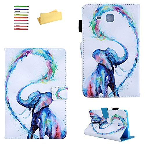 UUcovers Galaxy Tab A 7.0 inch Tablet 2016 (SM-T280/T285),PU Leather & Soft TPU Back Shockproof Shell with Card Slots Pencil Holder [Magnetic Cloure] for Samsung Galaxy Tab A 7.0, Colored Elephant ()