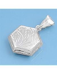 Sterling Silver Locket Pendant - Hexagon