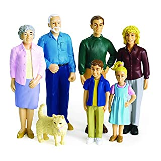 Excellerations Educational Multicultural Pretend Play Figurine Family Caucasian Dolls Set of 7 (Item # PPEXCA)