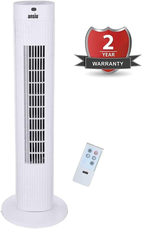 ANSIO Ventilador de Torre oscilante de 30 Pulgadas (76,2 cm) con Mando a Distancia, 3 velocidades, 3 Modos de Viento y Cable Largo de 1,75 m.-Blanco (Pilas NO Incluidas) 2 años de garantía: Amazon.es: Hogar