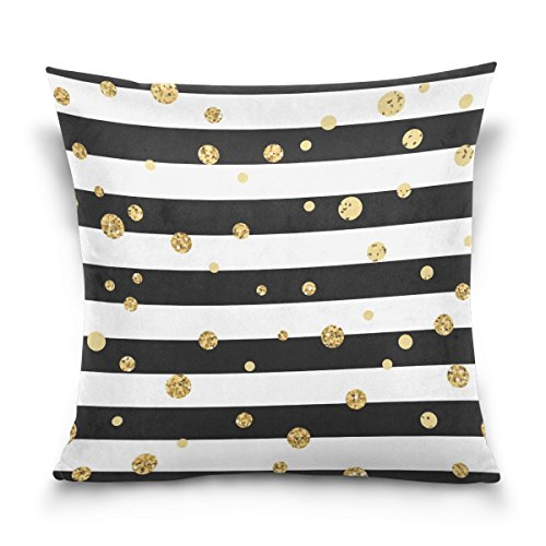 Striped Pillowcase Gold (ALAZA Gold Polka Dot Cotton Pillowcase 16 X 16 Inches Twin Sides, Black and White Stripe Pillow Case Sham Cover Protector Decorative for Home Hotel Couch Ded)