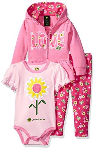 John Deere Baby Girls' Jacket Bodysuit and Pant Set, Pink, 12-18 Months