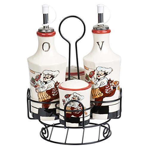 Lorren Home Trends C2065 Condiment Set Ceramic W/Rod Iron Stand (Stands Iron Rod)