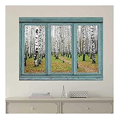 Vintage Teal Window Looking Out Into an Aspen Forest Wall Mural, Classic Artwork, Gorgeous Style