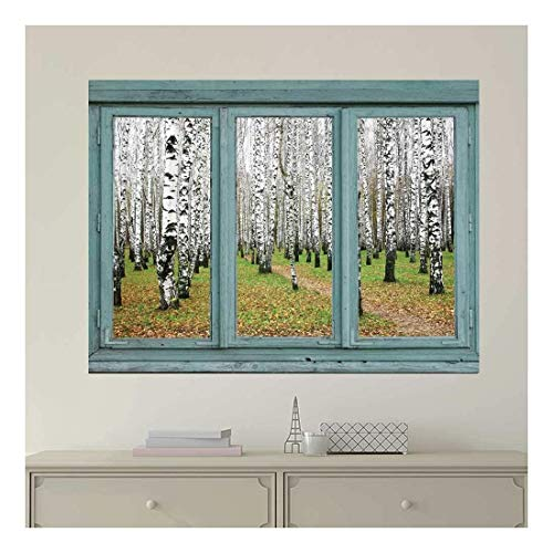 Vintage Teal Window Looking Out Into an Aspen Forest Wall Mural
