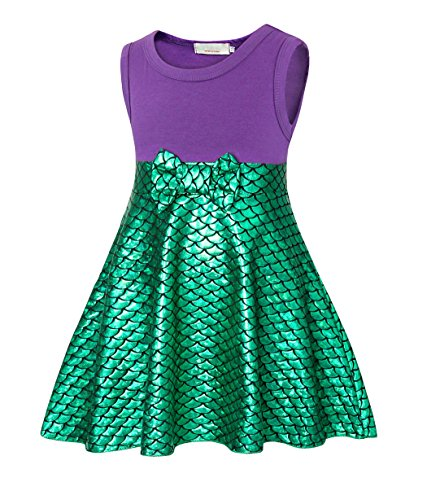 HenzWorld Girls Dresses Little Mermaid Costumes Ariel Beach Cosplay Birthday Party Playwear Sleeveless 6-7 Years -