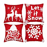 sykting Christmas Pillow Covers Set of 4 Embroidery Throw Pillow Cases 18x18 for Home Car Decorative (Christmas Tree,Christmas Deer,Big Snowflakes,Snowflakes)