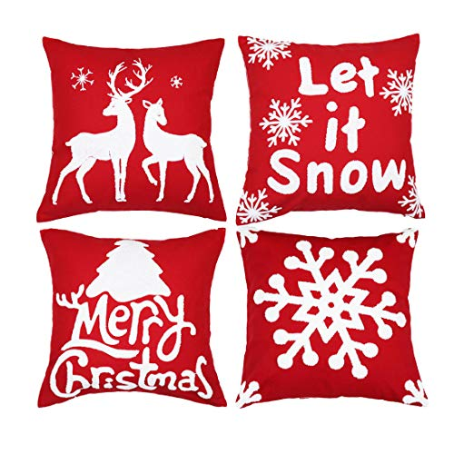 sykting Christmas Pillow Covers Set of 4 Embroidery