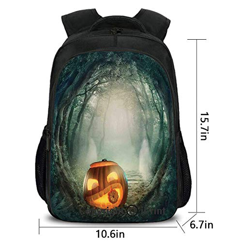 Soft Comfortable Backpack,Scary Halloween Pumpkin Enchanted Forest Mystic Twilight Party Art,School Bag :Suitable for Men and Women,School,Travel,Daily use,etc.Orange -