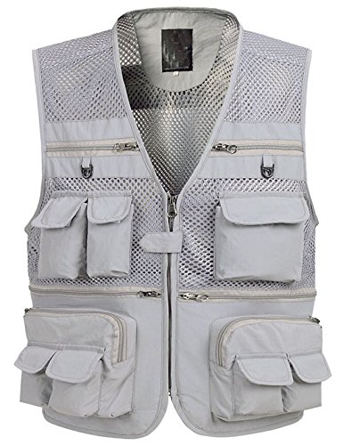 Flygo Zhusheng Men's Mesh 16 Pockets Photography Fishing Travel Outdoor Quick Dry Vest Breathable Waistcoat Jackets (Small, Grey)