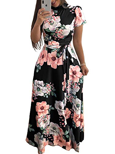 Aublary Women's Floral Maxi Dress Short Sleeve Faux Wrap Maxi Long Dresses with Removable Belt (Black-Short Sleeve, M)