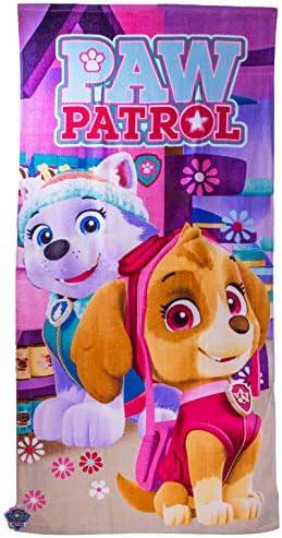 Nickelodeon Paw Patrol Hondenmotief Badlaken voor Kinderen Meisjes Skye Everest 140 x 70 cm Roze