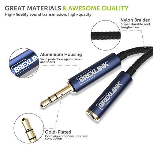 BrexLink Headphone Extension Cable, [2-Pack,4ft,Hi-Fi Sound] 3.5mm Auxiliary Extension Cable Nylon Braided Male to Female AUX Cord Compatible Phones, Headphones, Speakers, Tablets, PCs,and More/Black